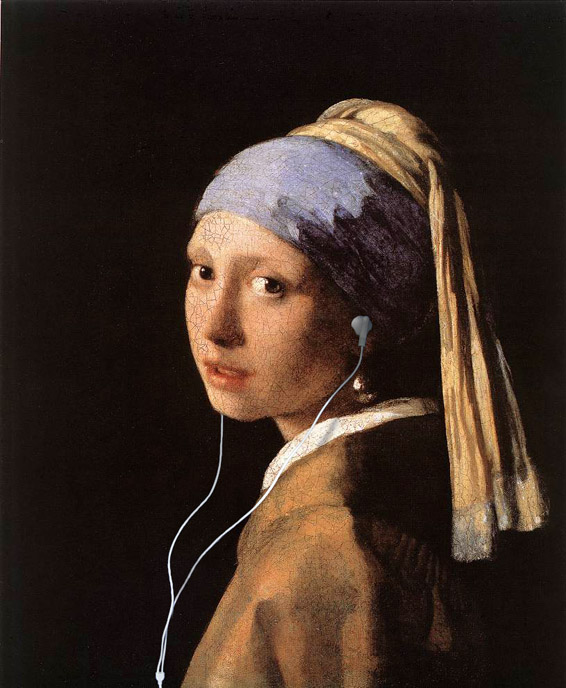 Girl with Pearl Earbuds (with apologies to Vermeer)